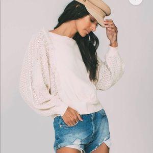 Free people lace sleeve cream sweater